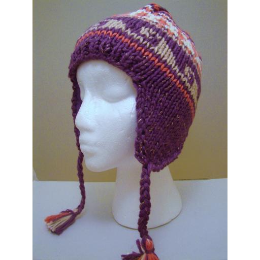 Peruvian Style: Hand Knitted Purple pink mix soft wooly hat