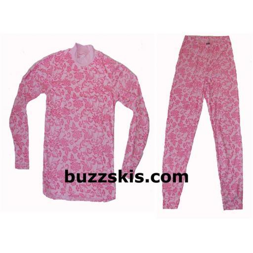 Womens Five Seasons MURIEL Thermal base layer set PINK FLORAL