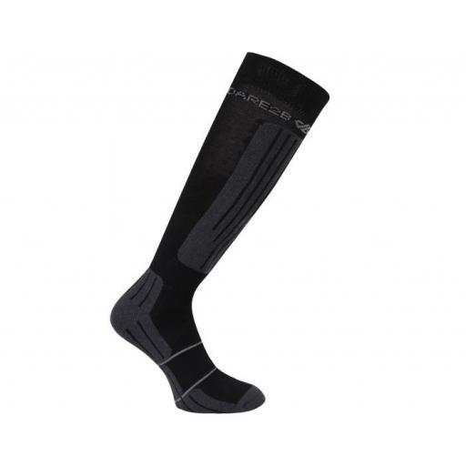 Dare2b Men's Sculpt Black Technical ski sock Sizes 6-8, 9-12