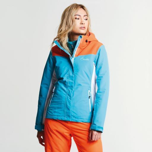 Dare2b Womens Prosperity AQUA BLUE/ORANGE Ski Jacket