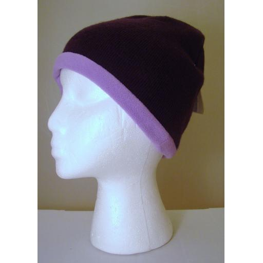 Aubergine and lilac Reversible HAT Warm and Soft Beanie hat Fleece Lined