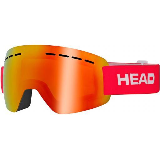 HEAD SOLAR FMR Goggle - Double Mirror Ski Snowboard RED STRAP CAT 2