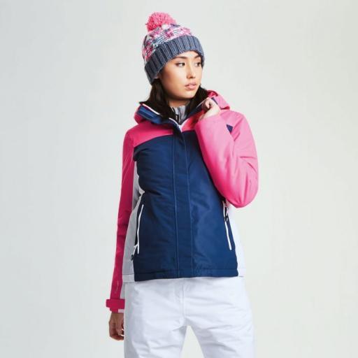 Dare2b Womens Prosperity BLUE WING/ PINK Ski Jacket