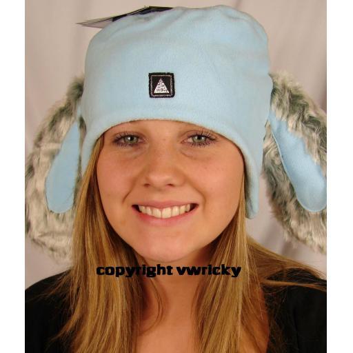 Cute Pale Blue RABBIT EARS FLEECE HAT