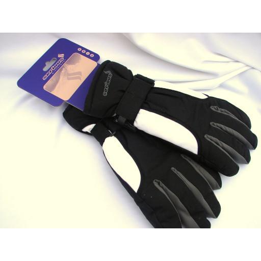 Serious Ladies Black and White SKI Gloves size Small