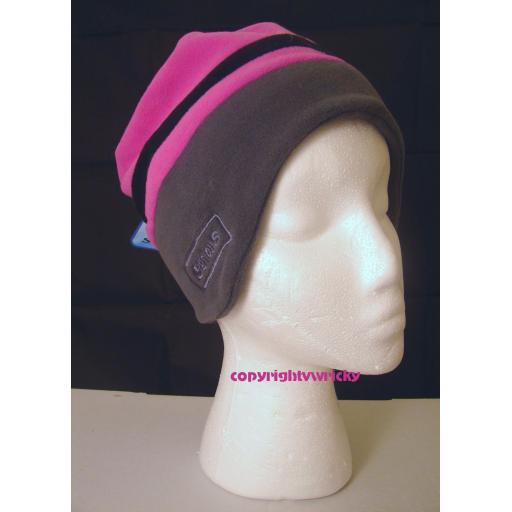 Pink and grey soft fleece Beanie hat