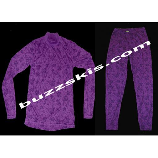 Womens 5 Seasons Layla Purple Thermal Base Layer set