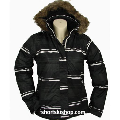"FIVE Seasons Womens "" SAGA"" Ski Jacket Black Abstract size 8"
