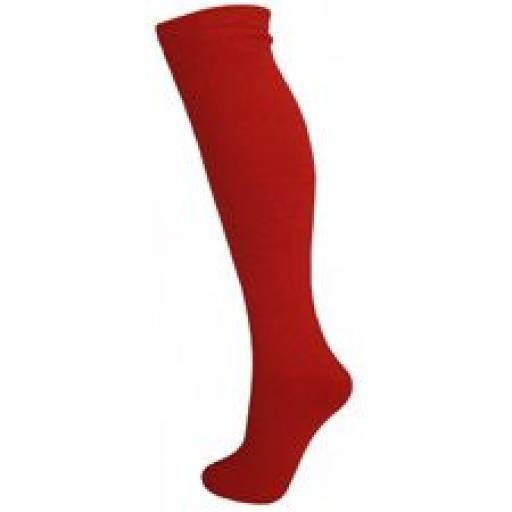Plain colour SKI TUBE socks 14cms Childrens RED UK 6-12, EU 23-30