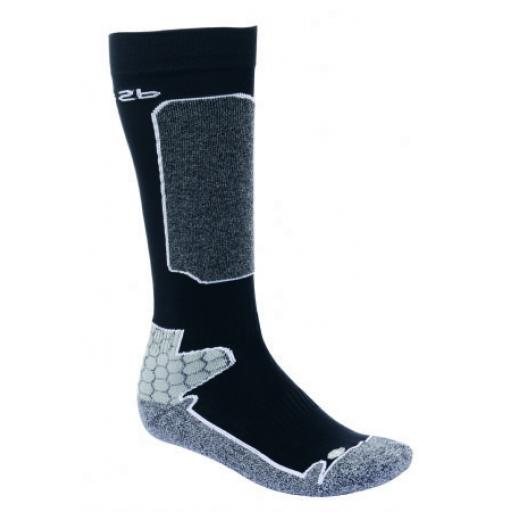 Dare2b ,Mens Contour Technical ski sock Black/Grey 2 Sizes 6-8. 9-12 UK Adult FREEPOST