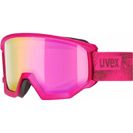 Uvex Athletic Pink Goggles - Double Mirror Ski Snowboard CAT 2
