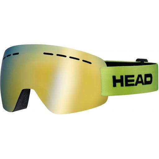 HEAD SOLAR FMR Goggle - Double Mirror Ski Snowboard LIME STRAP CAT S3