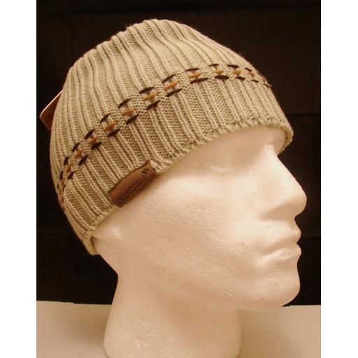 Beanie style Oatmeal beige HAT Warm and Soft NEW brown stitch pattern Stone