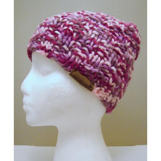 Pink Grey Cream woolly hat