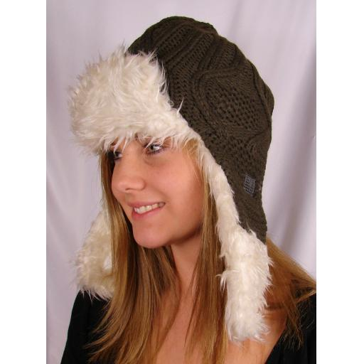 Ice Peak BROWN KNITTED TRAPPER STYLE HAT (1)