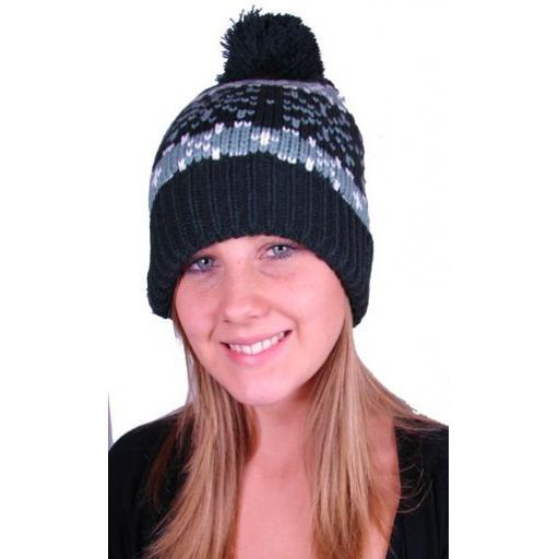 Ice Peak Black Bobble hat Acrylic/fleece mix Fleece