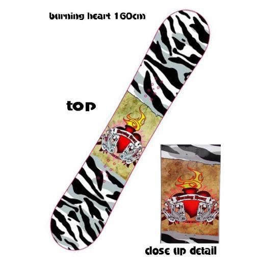 Pale BURNING HEART 160CMS All Mountain Snowboard rrp £300 NOW £129.99