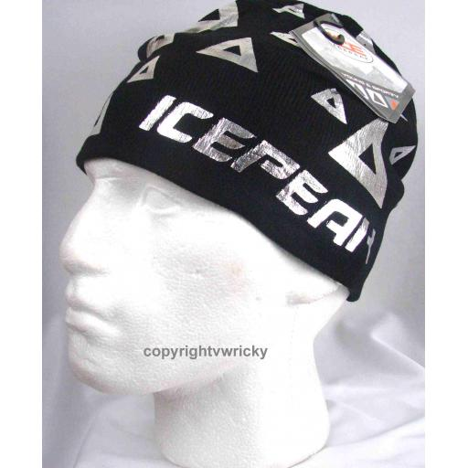 Black with silver pattern Beanie hat