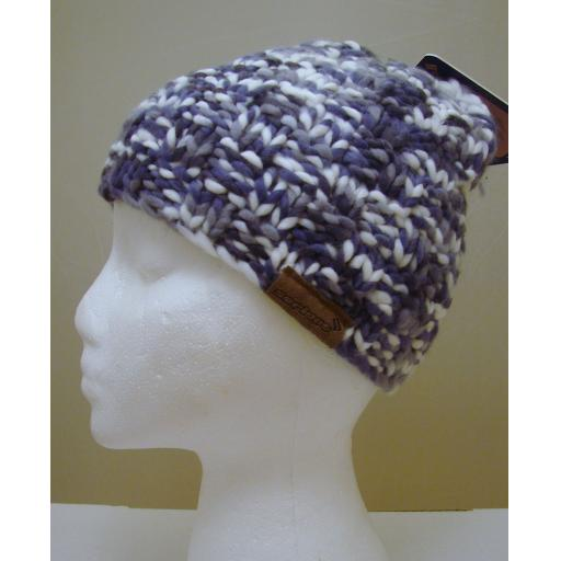 Blue Grey Cream woolly hat