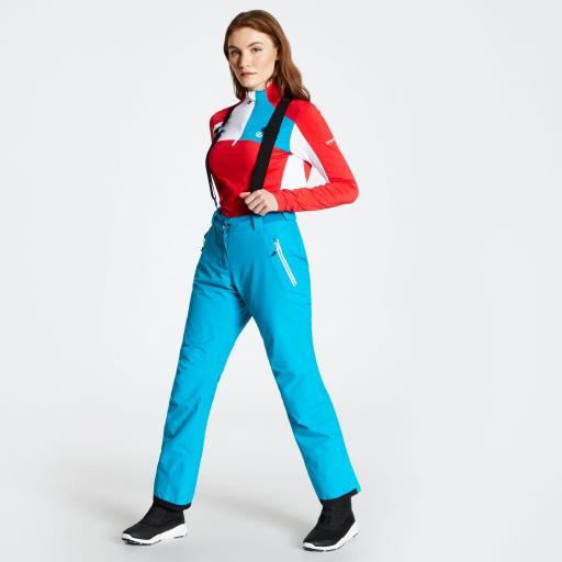 Dare2b EFFUSED Womens Freshwater BLUE Soft -shell Ski Pants SHORT LEG