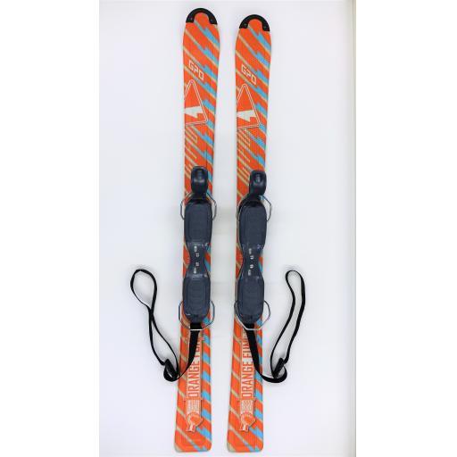 GPO 120 FUN-X SKI BLADES with GC-701 Release Bindings 120cms short skis O