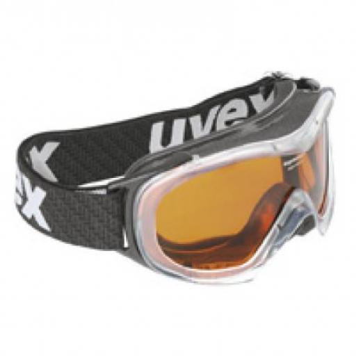 Uvex WIZARD Transparant Clear Frame Gold Single Lens CHILDRENS SKI GOGGLE