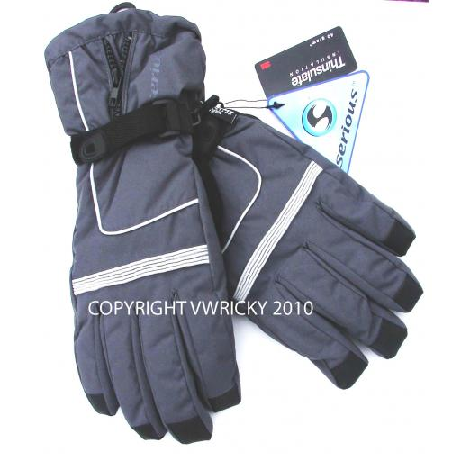 Adult Mens Grey SKI GLOVES Extra Small and Small