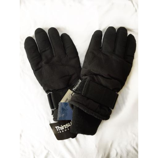 Childrens and Small Adults Black Ski Gloves