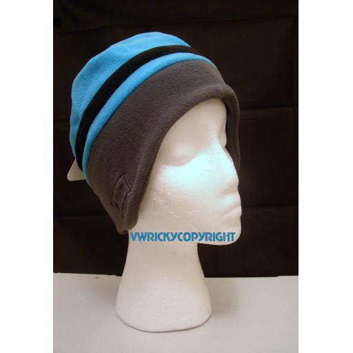 Blue and grey soft fleece Beanie hat