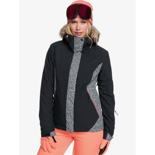 ROXY WOMENS Jet Ski Snow Jacket Black Pop Animal Print